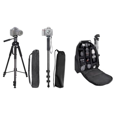 60   Inch Professional Camera Tripod   Pro Series 72   Inch Monopod W  Quick Release   Padded Backpack For Canon  Nikon  Sony  Samsung  Olympus  Panasonic  Pentax   More   Ecostconnection Cloth