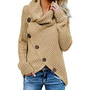 Women's Turtle Cowl Neck Asymmetric Hem Wrap Sweater Coat with Button Details
