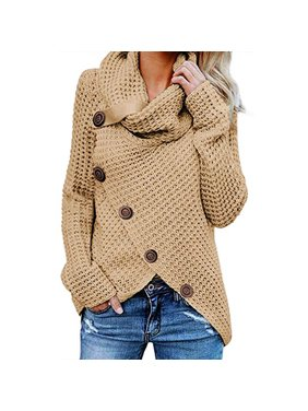 fcbf756e2ca Product Image Women s Turtle Cowl Neck Asymmetric Hem Wrap Sweater Coat  with Button Details