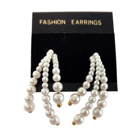 White Beaded Faux Pearl Spray Pierced Earrings 1 1/2