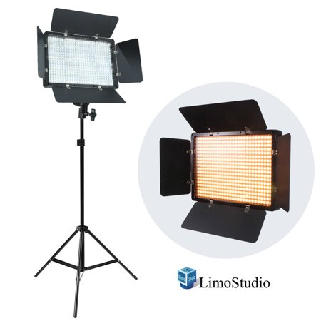 Loadstone Studio LED Barn Door Light Panel with Light Stand Tripod, Dimmable Brightness Control, Color Temperature Control by Color Filter Gel, Continuous Lighting Kit, AC Power Cord, - Tri Panel 9 Light