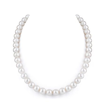 9-10mm AAA Quality Round White Freshwater Cultured Pearl Necklace for Women in 17 Princess (Bronze Freshwater Pearl Necklace)