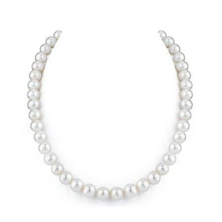 14K Gold 8.5-9.0mm AAA Quality Round White Freshwater Cultured Pearl Necklace for Women in 18 Princess Length