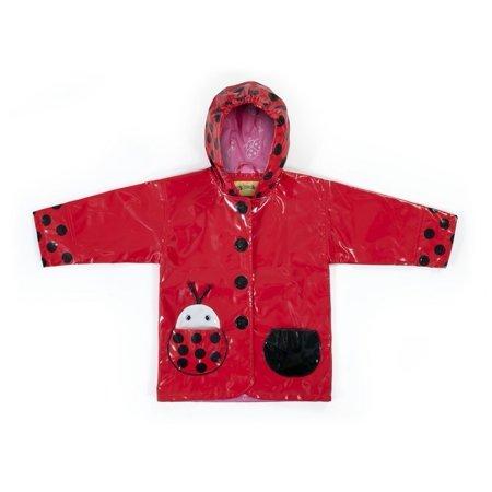 Little Girls Red Black Lady Bug Pocket Hooded Rain Coat 2T-6X