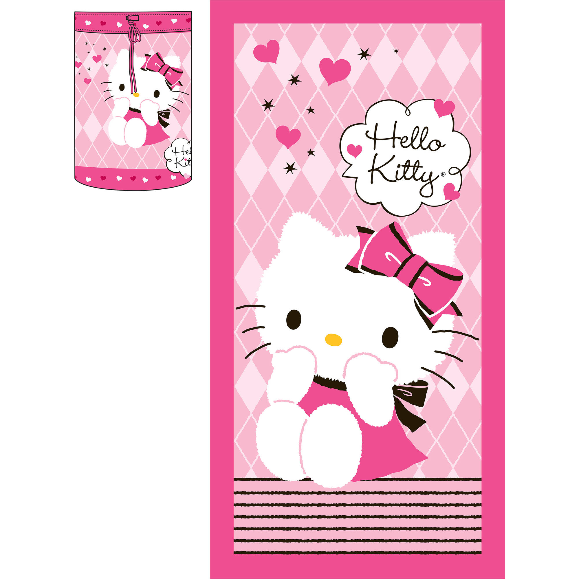 Hello Kitty 'Argyle Kitty' Kids Sleeping Bag and Backpack