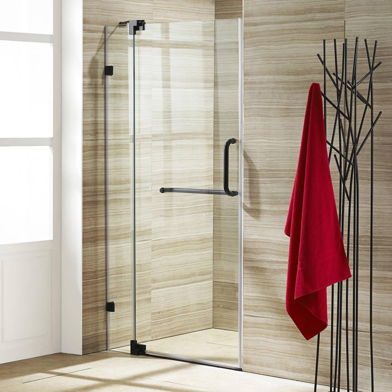 "VIGO Pirouette 36"" Frameless Shower Door, 3/8"" Clear Glass/Antique Rubbed Bronze Hardware"
