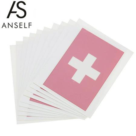 ANSELF 10pcs/set National Flag Temporary Tattoos Body Face Tattoo Sticker Patriotic Tattoos 16 Countries Optional (Switzerland)](Patriotic Tattoo)