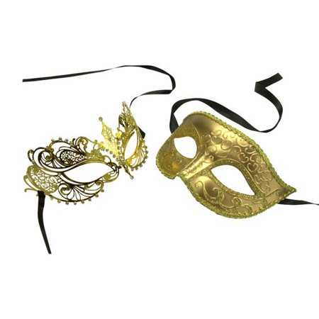 Gold His and Her Masquerade Masks -  Bestselling Gold Couple Masks Set (His And Her Halloween Costume Ideas 2017)
