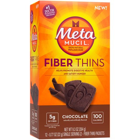 (3 Pack) Metamucil Chocolate Flavored Fiber Thins Dietary Fiber Supplement with Psyllium Husk, 12 servings - Fiber Chews Chocolate