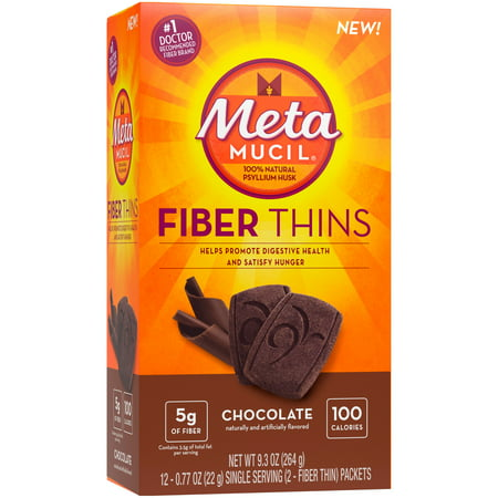 (3 Pack) Metamucil Chocolate Flavored Fiber Thins Dietary Fiber Supplement with Psyllium Husk, 12 servings