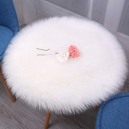 Faux Fur Table Cloth, Fur Round Chair Sofa Cover Cushion Pet Pads Area Rugs Non-Slip Backing Auto Office Kitchen Home ()