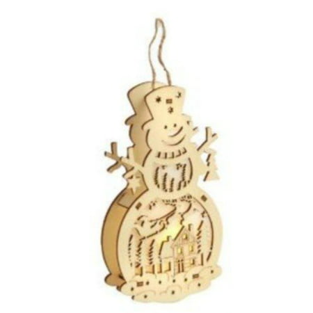 Nantucket Home Wooden Laser-Cut LED Ornament (Snowman Scene) - Wooden Snowman Crafts