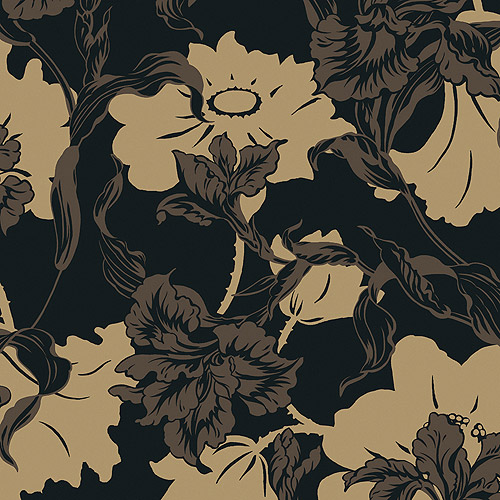 Blue Mountain Iris/Urn Damask Wallcovering, Charcoal and Nickel