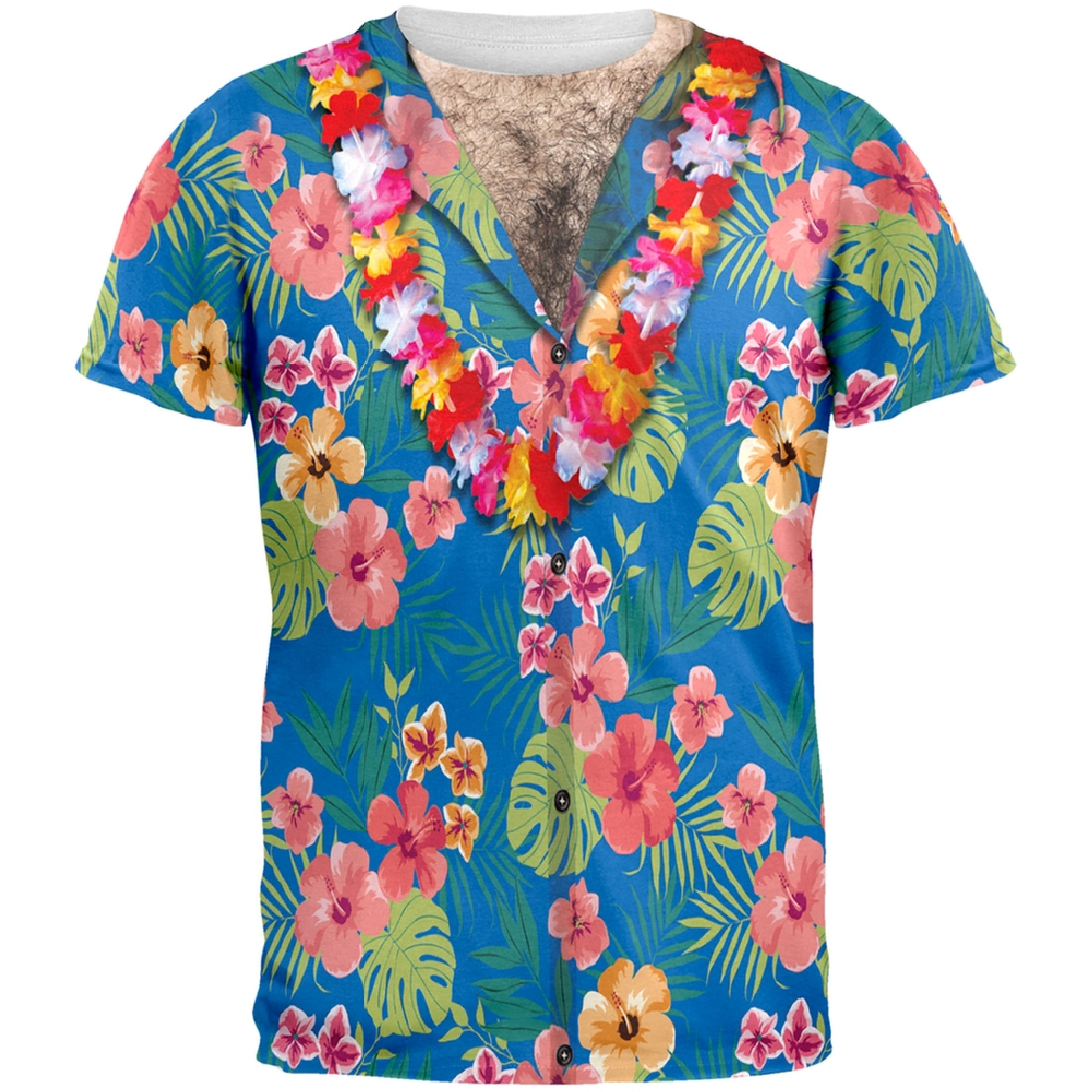 Hawaiian Shirt With Lei All Over Costume Adult T-Shirt