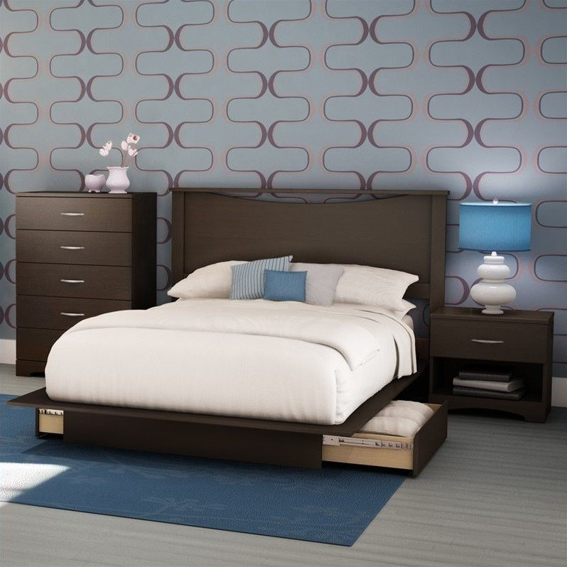 South Shore Back Bay Modern 4 Piece Queen Platform Storage Bedroom Set by South Shore