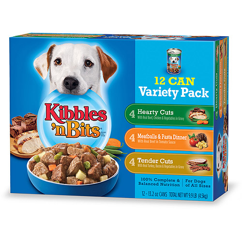 Kibbles 'n Bits Wet Dog Food Variety Pack Featuring Meatballs & Pasta Dinner With Real Beef in Tomato Sauce, 13.2-Ounce Cans (Pack of 12)