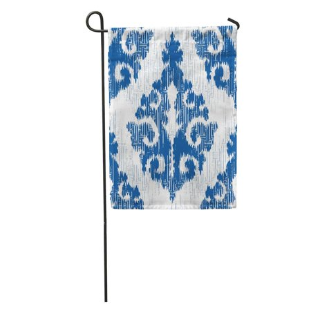 - SIDONKU Accessory Medieval Ikat Indigo Damask Pattern Aged All Antique Bunting Garden Flag Decorative Flag House Banner 12x18 inch