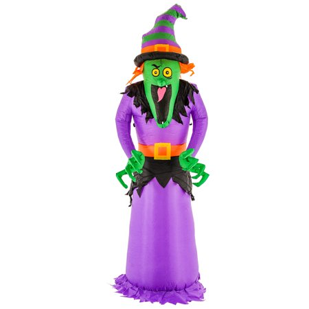 Halloween Haunters 8ft Inflatable Scary Witch LED Yard Lawn Prop - Scary Homemade Halloween Yard Props