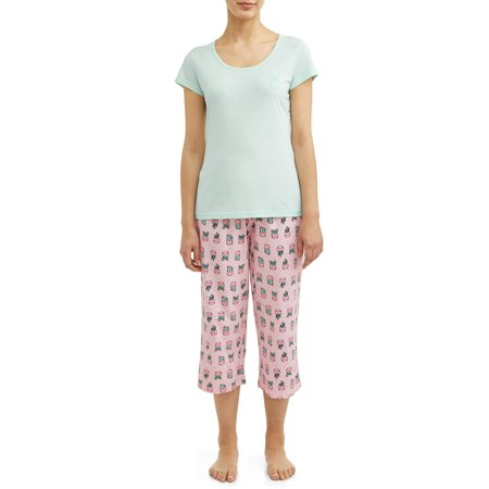 Knit Sleep Tee (JV Apparel Women's and Women's Plus Knit 2-Piece Sleep Set with Embroidery )