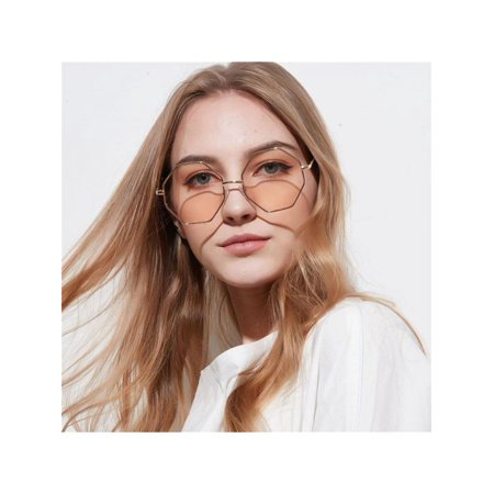 Lavaport Women Vintage Fashion Hexagonal Hippie Style (Hippie Style Sunglasses)
