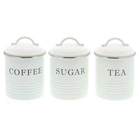 Barnyard Designs Decorative Kitchen Canisters With Lids White Metal Rustic Vintage Farmhouse Country Decor For Sugar Coffee Tea Storage Set Of 3 Nbsp