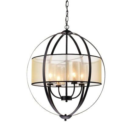 24-Inch 4-Light Metal Strap Globe Pendant