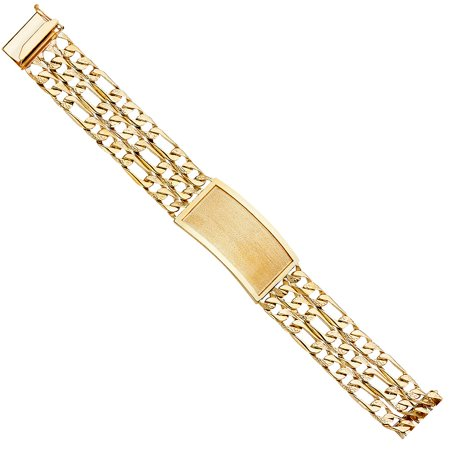 14k Tri Colored Gold Nuggets Figaro Triple Links Square Chain Satin Rectangular Bar Plate 9 inch Unisex ID Bracelet Approx. 54.9 Grams