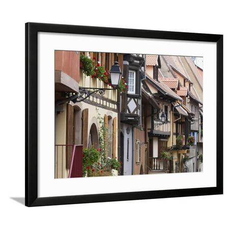 Street in the Heritage Village of Eguisheim, Alsatian Wine Road, Haut Rhin, Alsace, France, Europe Framed Print Wall Art