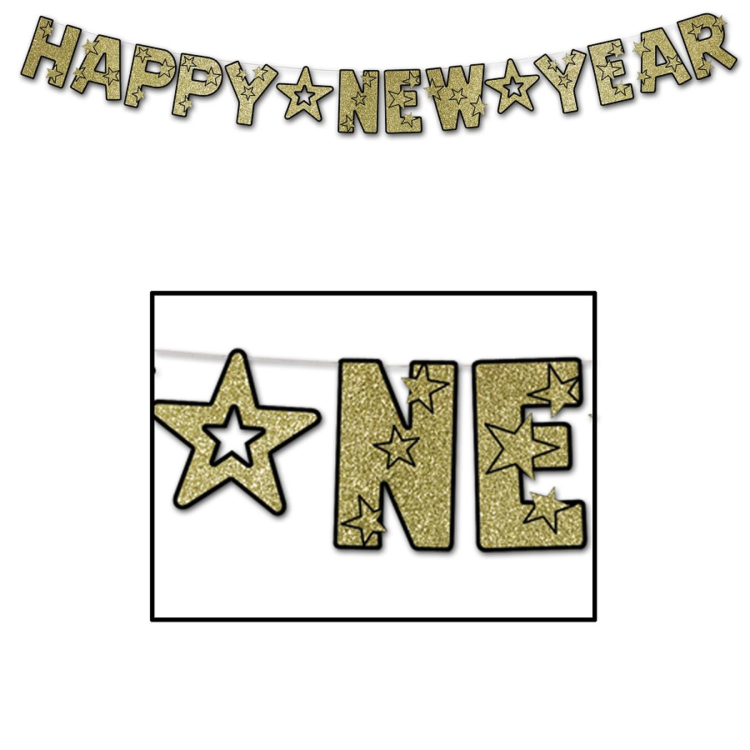 Club Pack of 12 Black and Gold Glittered Happy New Year Streamer Party Decorations 102""