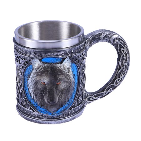 Pattern Coffee (450ml Vintage Wolf Head Pattern Stainless Steel Mug Coffee Milk Cup Tea Cup for Home Office Cafe)