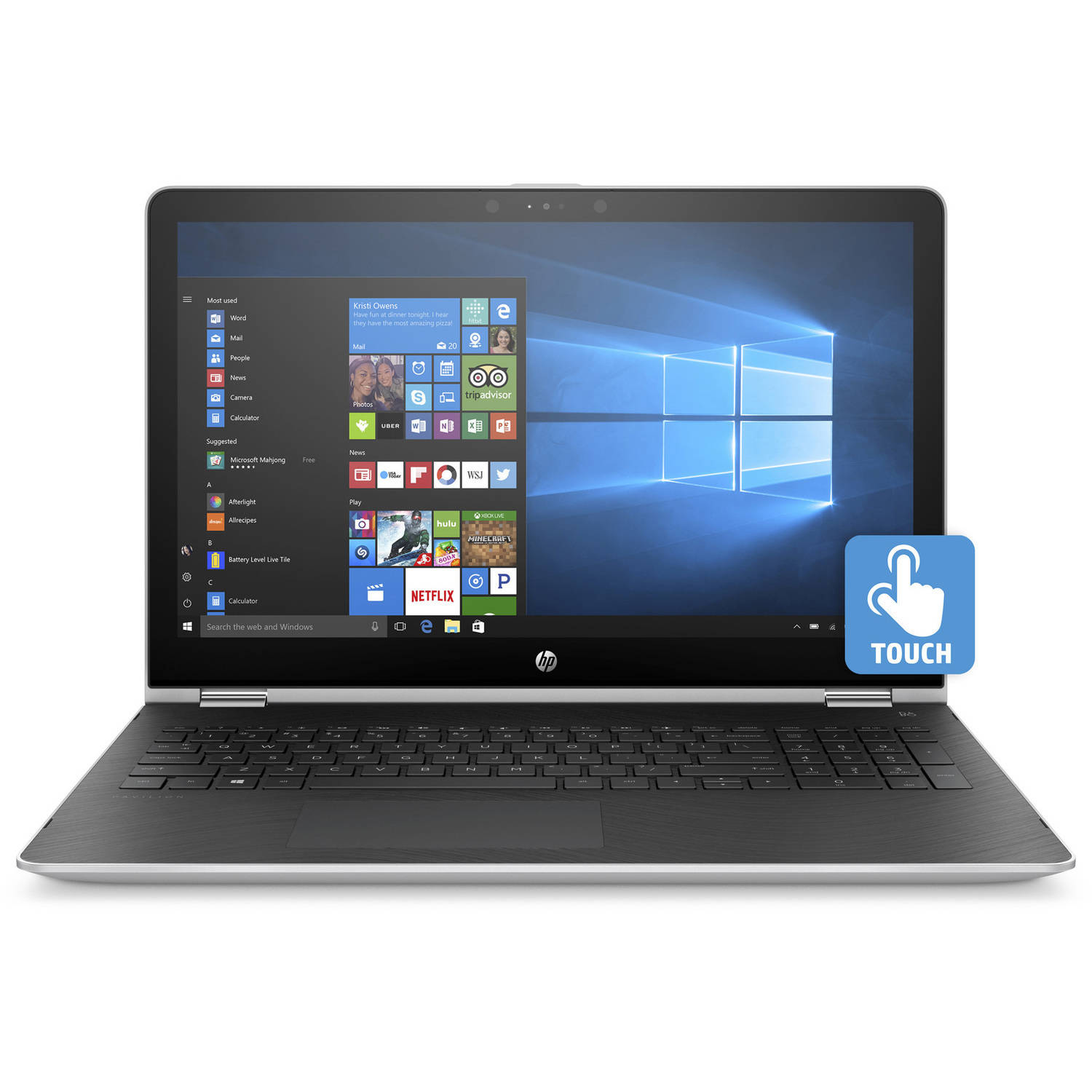 "HP 15.6"" Laptop, Touchscreen, 2-in-1, Windows 10, Intel Core i3-7100U Processor, 8GB RAM, 1TB Hard Drive (Assorted Color)"