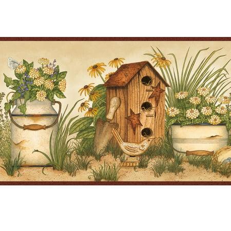 - 878402 Buckets of Blooms Birdhouses Wallpaper Border AAI08053b