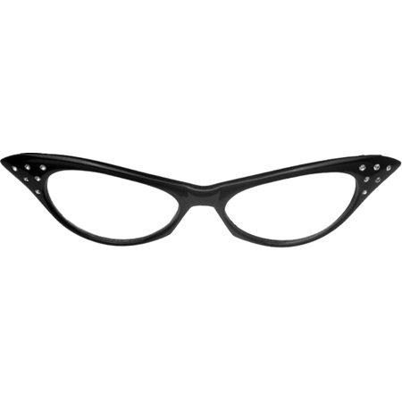 Black Glasses '50s Rhinestone (Clear Lens) Adult Halloween - Halloween Contact Lenses Prescription-only