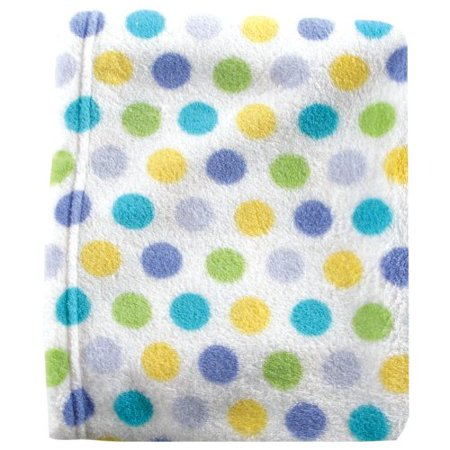 Luvable Friends Dot Print Coral Fleece Blanket, Blue - image 1 of 1