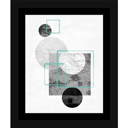 Original Contemporary Abstract Painting - Circles & Squares Distressed Texture Contemporary Trendy Modern Abstract Painting Black & White, Framed Canvas Art by Pied Piper Creative
