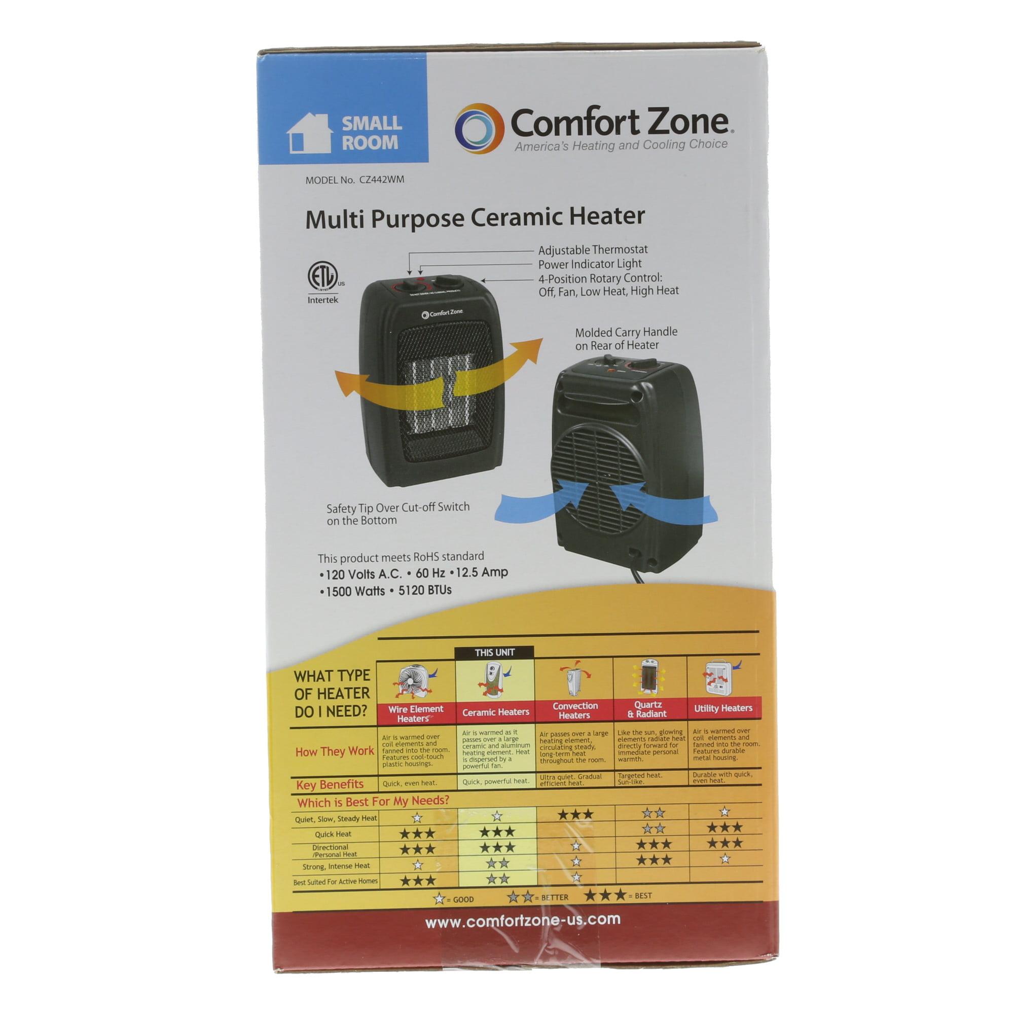 Comfort Zone Ceramic Electric Portable Space Heater, Black, CZ442WM -  Walmart.com