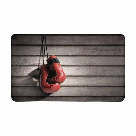 MKHERT Two Red Boxing Gloves Above Wooden Desk Doormat Rug Home Decor Floor Mat Bath Mat 30x18 inch - Above Door Decor