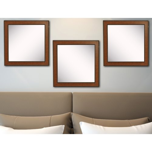 Rayne Mirrors American Made Rayne Western Rope Square Wall Mirror Set - Brown