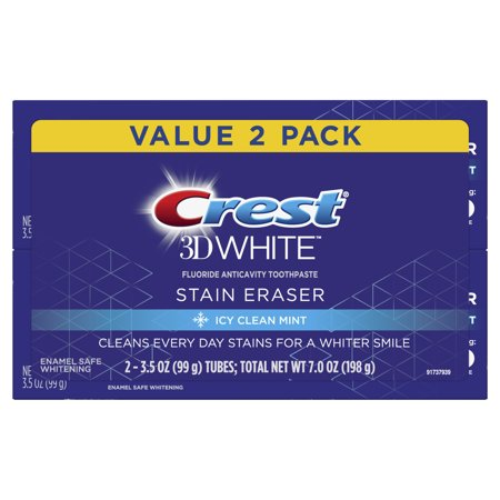 Crest 3D White Stain Eraser, Whitening Toothpaste Icy Clean Mint, 3.5 oz, Pack of 2