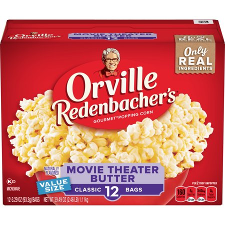 Orville Redenbacher's Movie Theater Butter Microwave Popcorn, 3.29 Ounce Classic Bag,