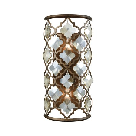 Armand 2-Light Sconce in Weathered Bronze with Champagne-plated Crystals Hall Crystal Sconce