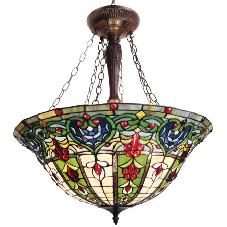 Inverted Hanging (CHLOE Lighting Tiffany-style 3 Light Victorian Inverted Hanging Pendant Fixture 22