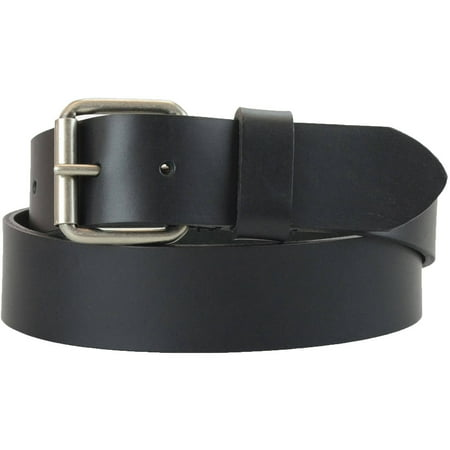 Black Leather Plaque Buckle Belt - 1-1/2 in. US Steer Hide Harness Leather Men's Belt w/ Antq. Nickel Roller Buckle
