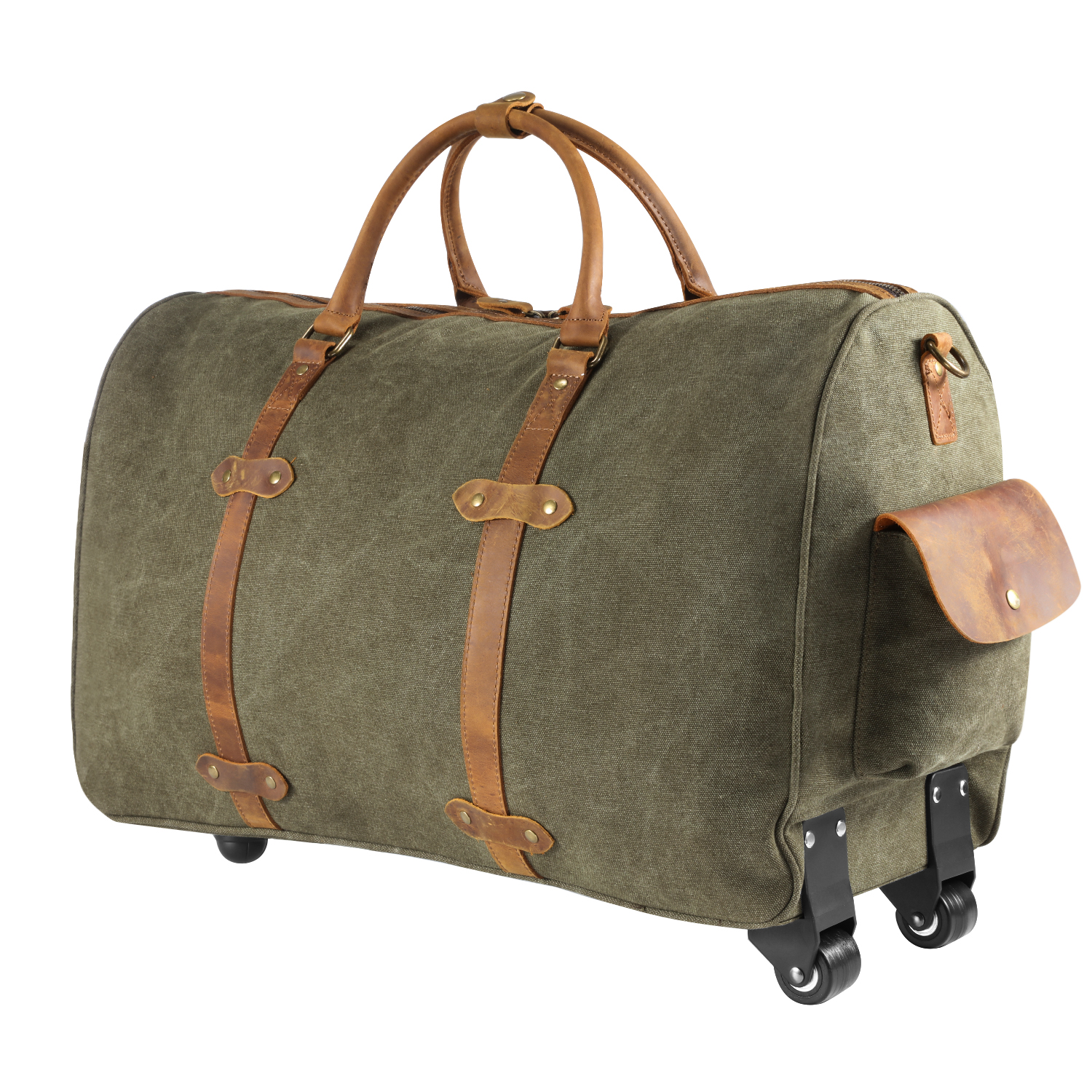 Kattee Rolling Duffle Bag with Wheels Canvas Travel Luggage Duffel Bag 50L (Army Green)