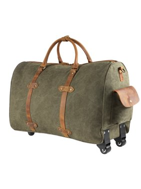 Product Image Kattee Rolling Duffle Bag with Wheels Canvas Travel Luggage Duffel  Bag 50L (Army Green) c047c9e8b6b
