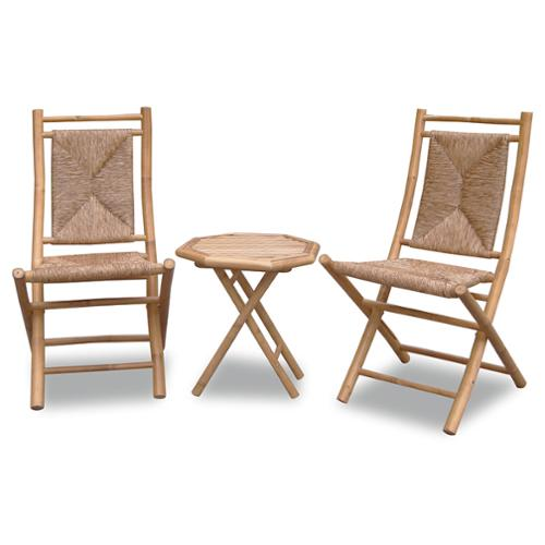 Heather Ann 3-piece Woven and Bamboo Bistro Set Natural Frame