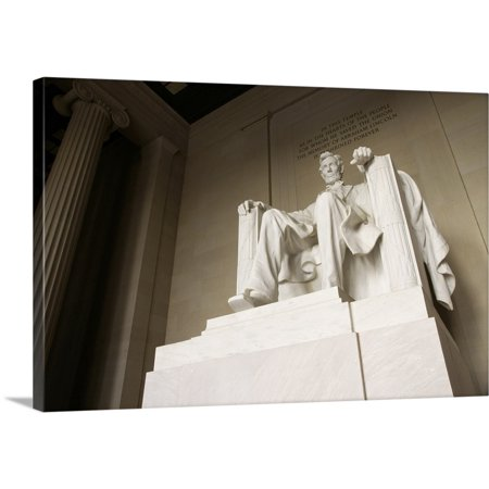 Great BIG Canvas | Marc Jackson Premium Thick-Wrap Canvas entitled Statue Of Abraham Lincoln In The Lincoln Memorial, National Mall, (Jackson Shopping Mall)