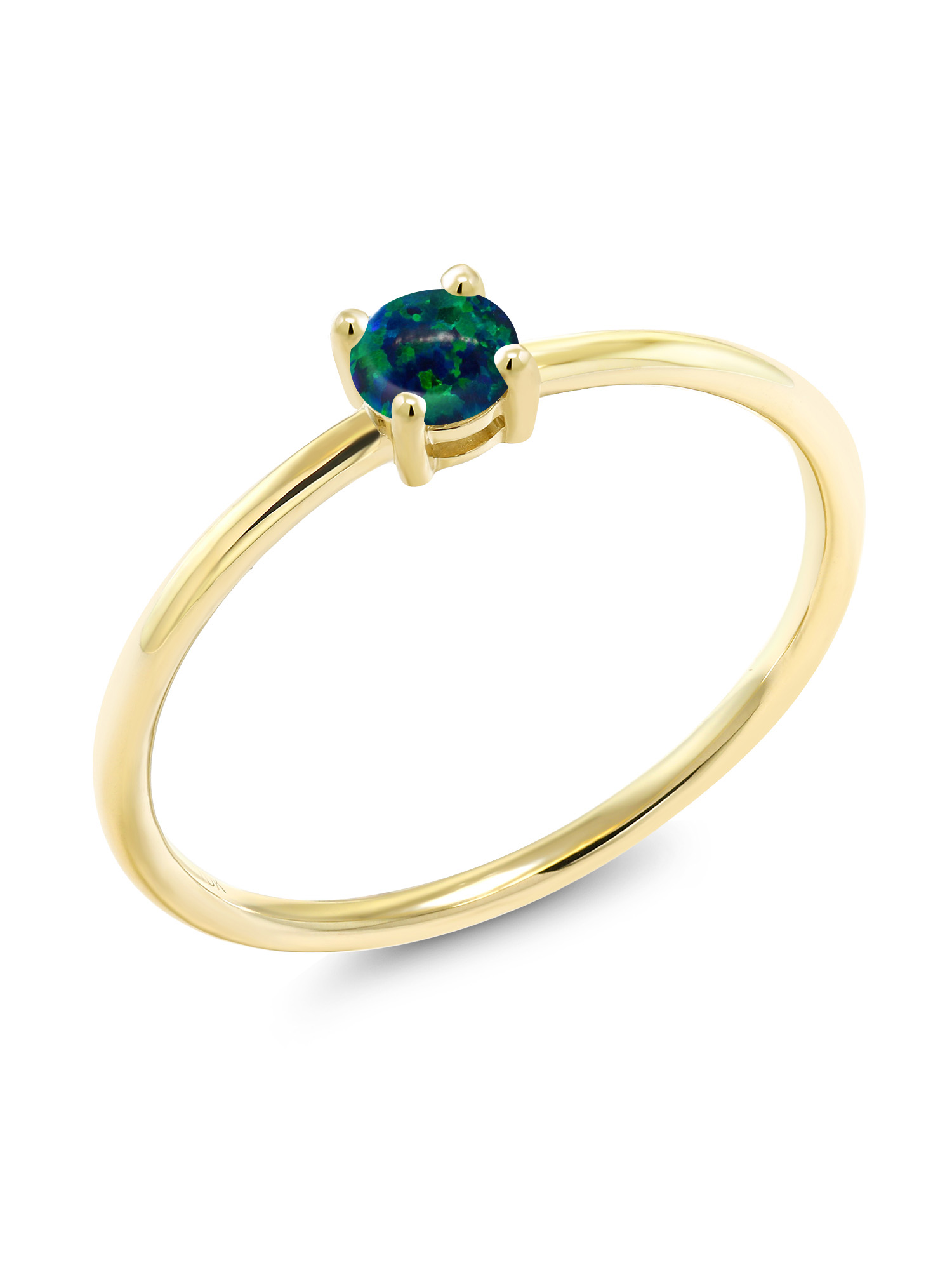 0.25 Ct Round Cabochon Green Simulated Opal 10K Yellow Gold Ring by
