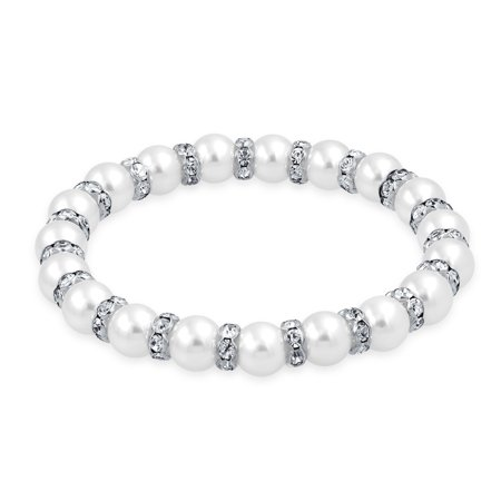 White Simulated Pearl Stackable Strand Stretch Bracelet For Women White Crystal Rondelle Spacer Silver Plated Brass