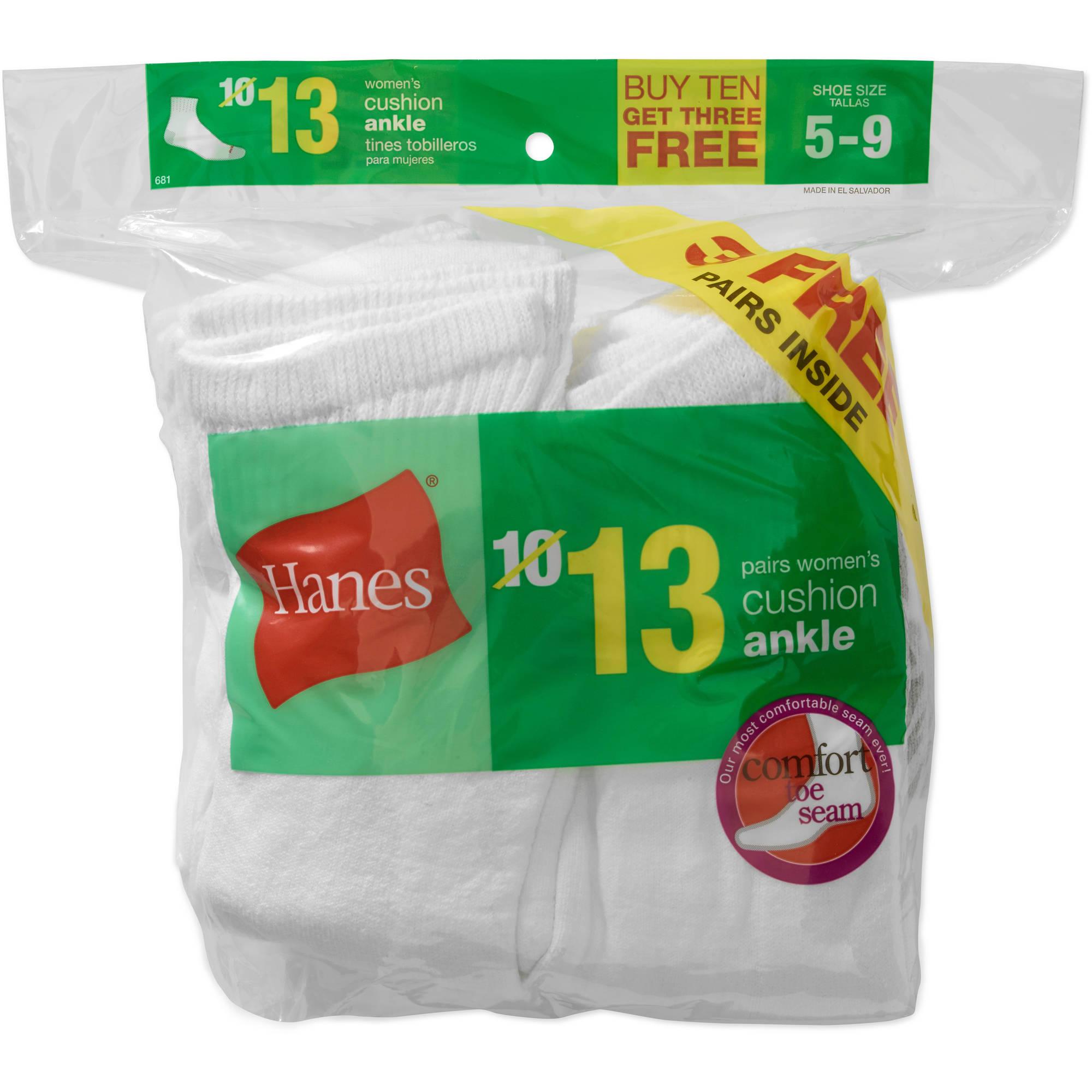 Hanes Ladies ComfortBlend Half Cushion Ankle Socks, 10 Pack + 3 Free